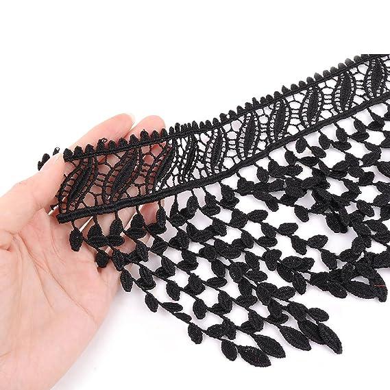 Amazon.com: eDealMax poliéster Camisa Artesanal borla Adorno de costura del borde del cordón de ajuste 1.1 yardas Negro