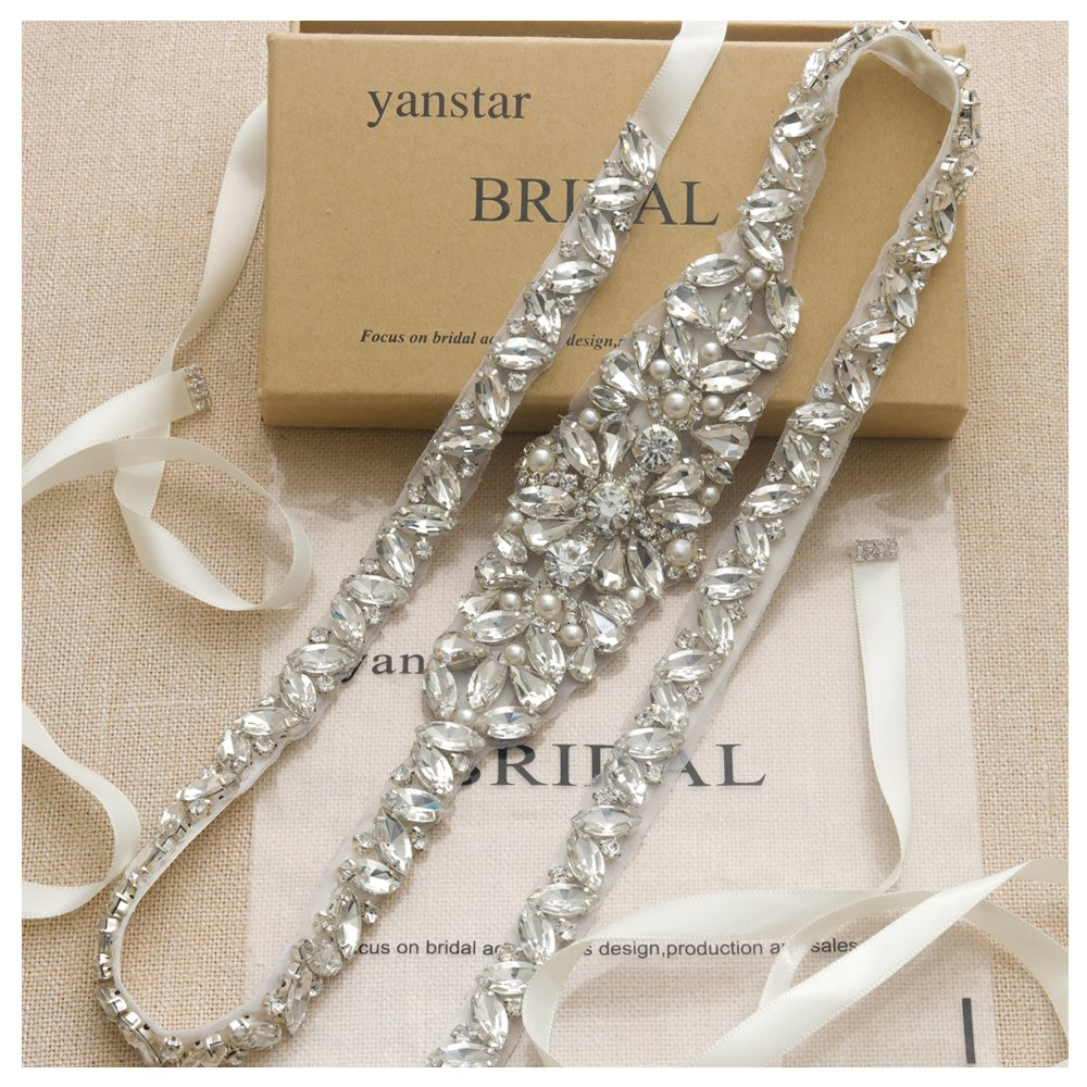 Yanstar Thin Full Length Wedding Bridal Belts Sash Silver Crystal Rhinestone Pearl Ivory Ribbon Belt for Bridesmaid Prom Dress