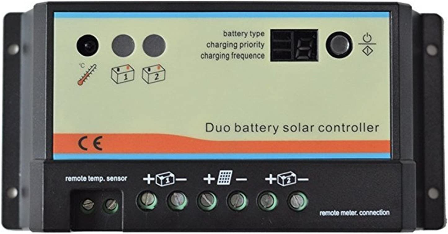 SainSonic 20A Duo Battery Solar Panel Charge Controller Regulator 12 24V