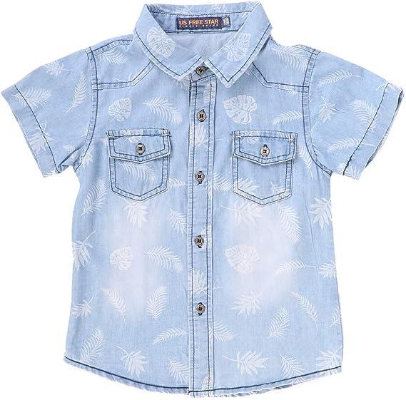 FREE STAR Camisa para niños Manga Corta Camiseta Azul de algodón ...
