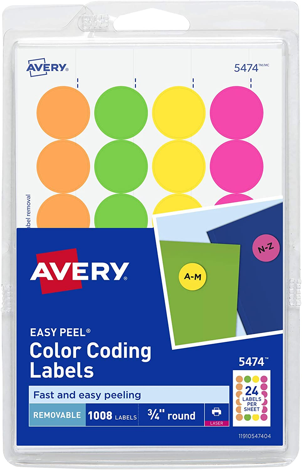 AVERY Removable Print or Write Dot Stickers 3/4 Inch, Assorted Colors, Pack of 1008 Round Stickers (5474), White : Office Products