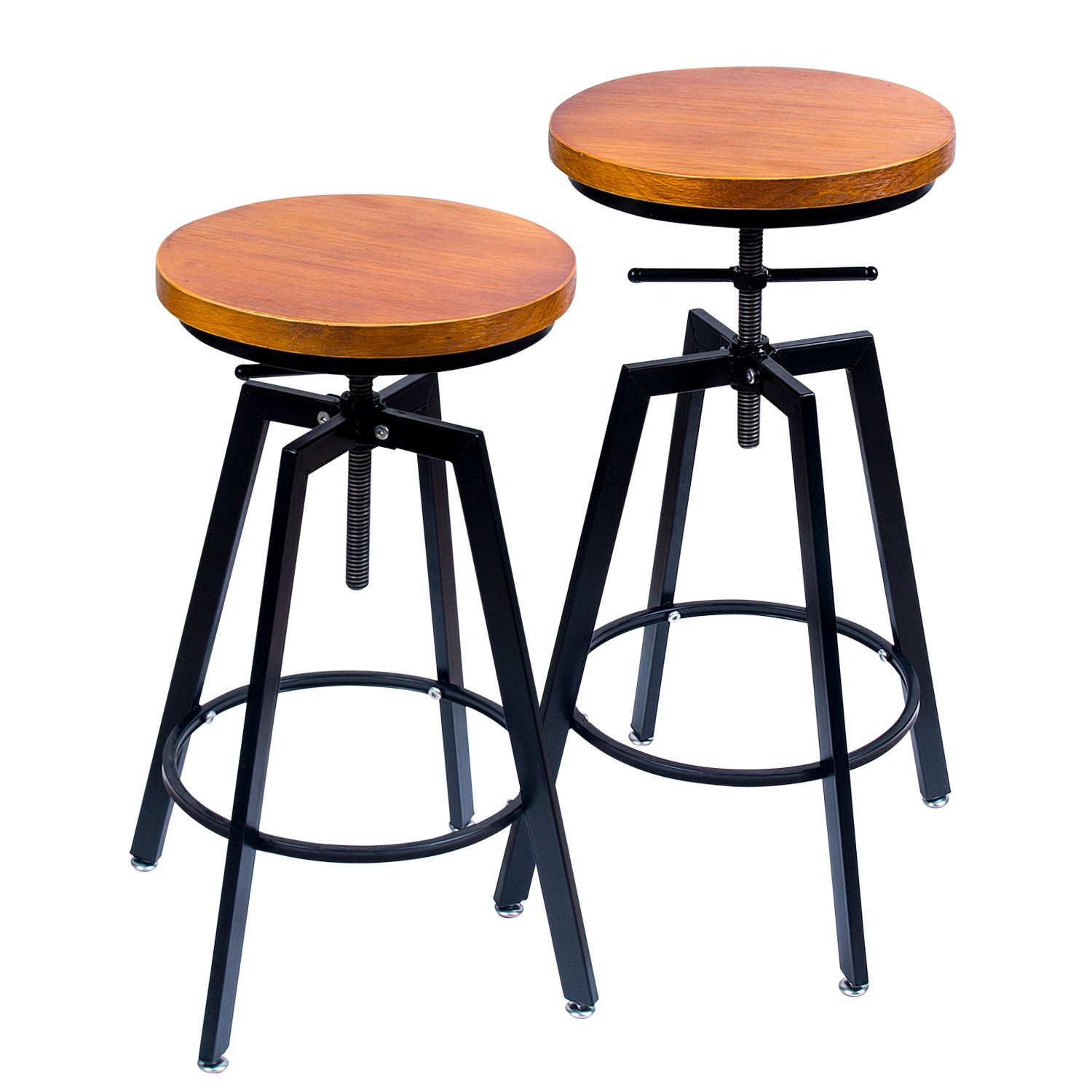 ANXITIEGONGYI Best Bar Stools, Bar Chairs for Pub Bistro Kitchen Coffee House Home, Swivel Round Wood Seat, Metal Base, Bar/Counter Height Adjustable, Set of 2, Black by ANXITIEGONGYI (Image #1)