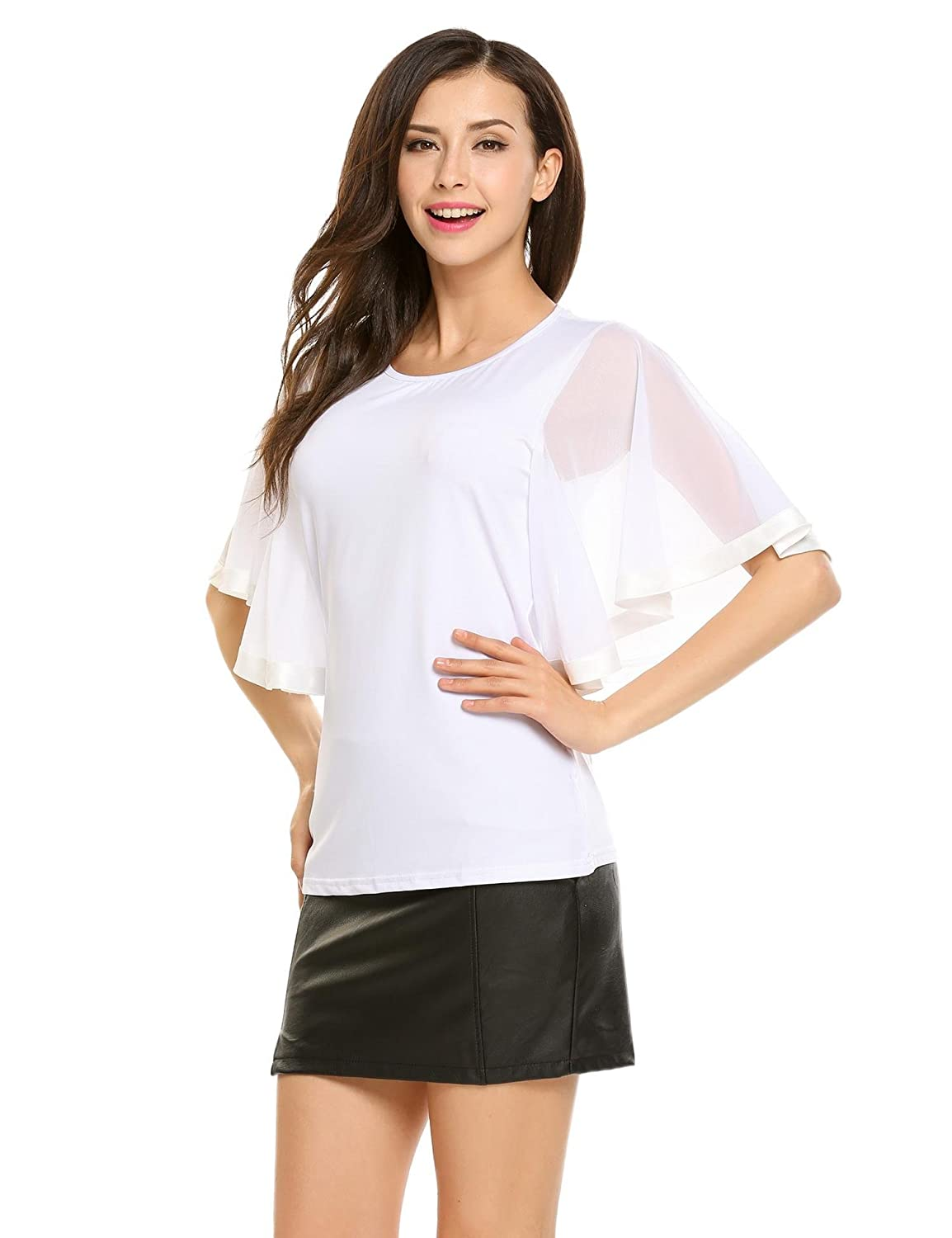 Zeagoo Womens Short Sleeve Round Neck Mesh Patchwork Top Shirt