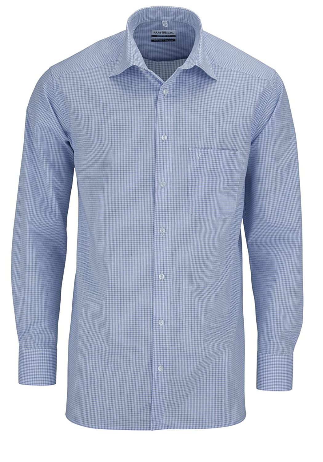 Iron Marvelis Shirt Blue / White Chequered New Kent collar in long (64 CM)