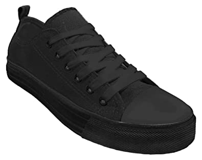 18765e69f79e4 Haughty Canvas Shoes for Women Fashion Walking Shoes Ladies Sneaker Low Top  All Black 6