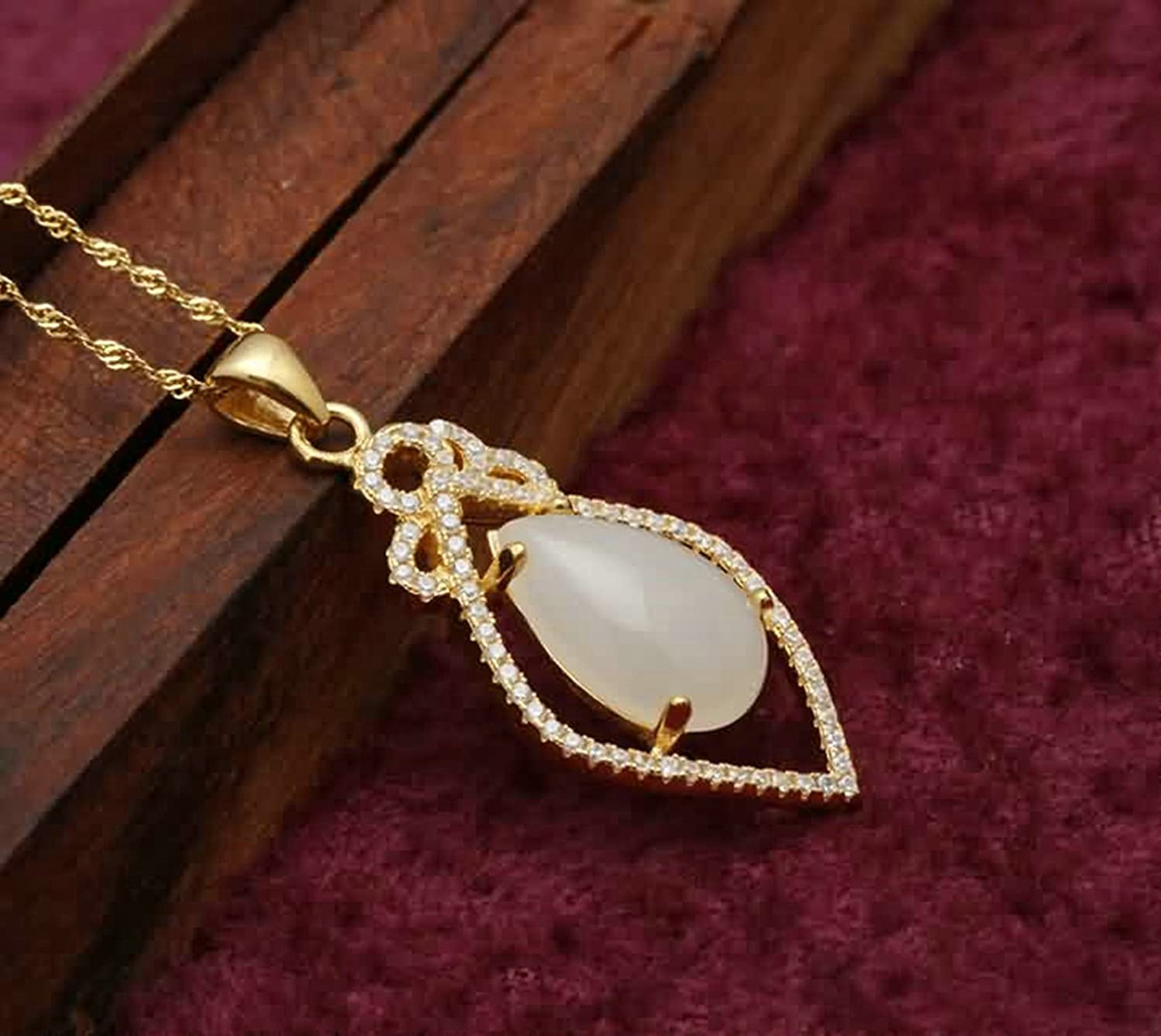 AMDXD Jewelry Women Silver Plated Pendant Necklaces CZ Drop Gold 3.1X1.7CM