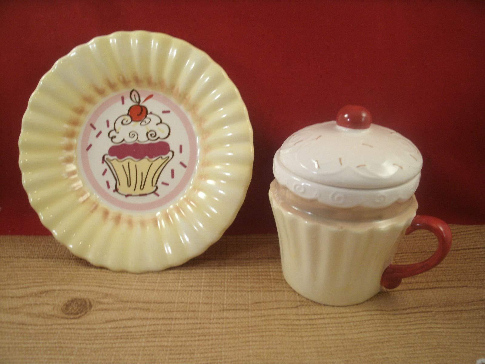 Tuweep New Ceramic Cupcake Mug Coffee Cup Saucer Plate Yellow RED TAN White 12oz by Tuweep