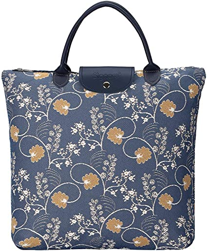 Foldable Shopping Bag Reusable Grocery Tote In Jane Austen Tapestry Design