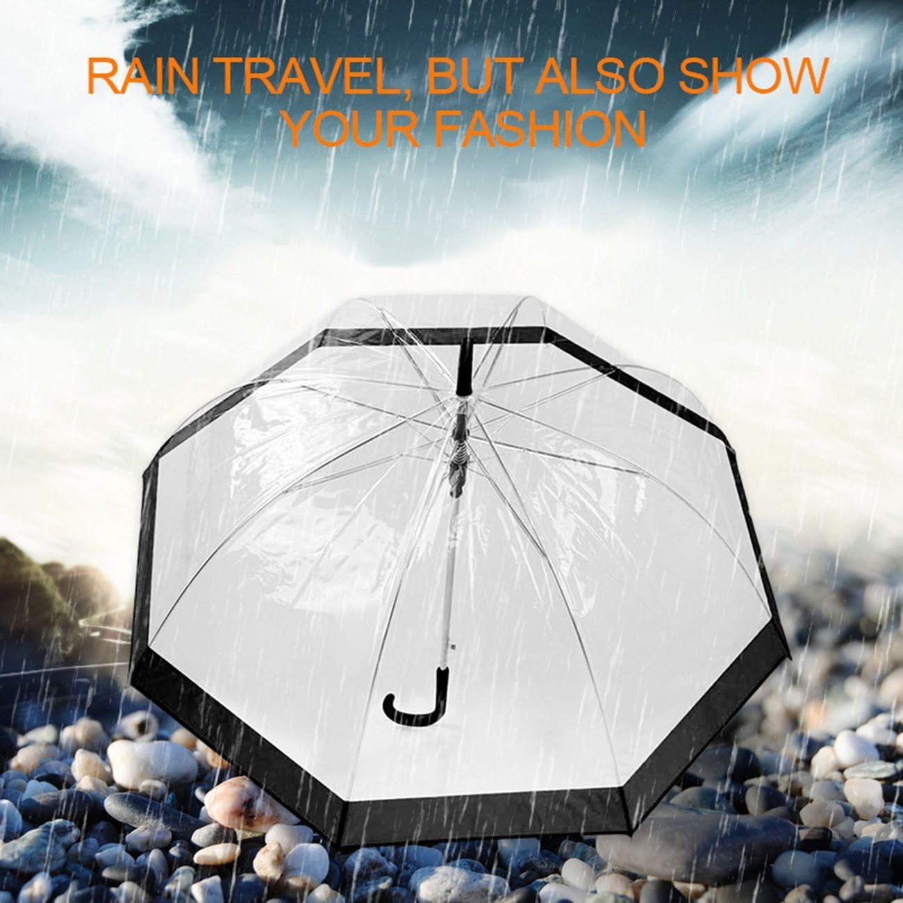 JIO-S Paraguas Transparente de pl/ástico Lovely Rain Sunny Sunny Girls Girls Ladies Mango Largo Birdcage Dome See Through Umbrellas Negro
