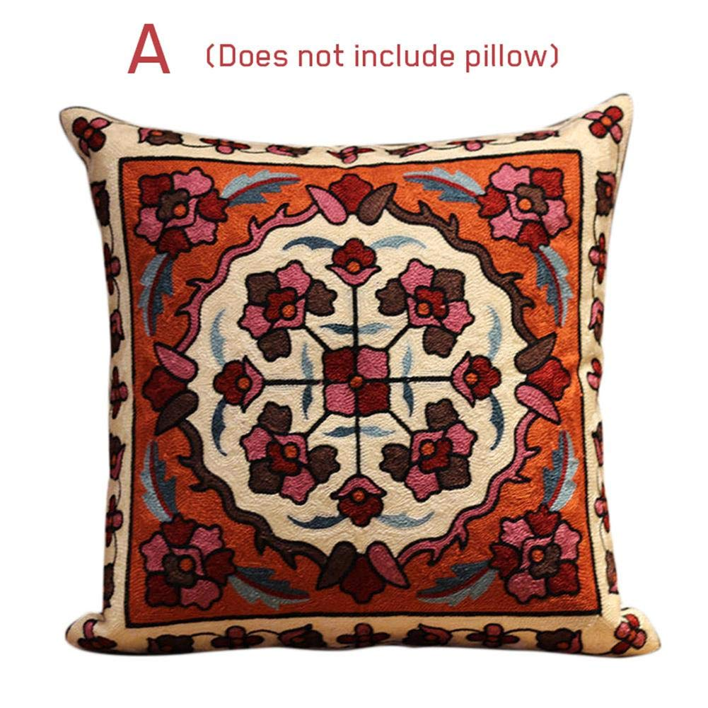 Shengruhua Ethnic Style Pillowcase Fashionable Embroidery Flower Pillowcase Thickened Seat Cushion Pillowcase for Christmas Home Living Room Sofa Bed Decoration - Flower Series