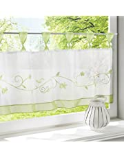 ZebraSmile Embroidered Window Tier Curtain Tier Semi Sheer Curtain Window Treatment Tab Top Voile Window Curtain Tier Half Window Curtains for Kitchen Bathroom Living Room Cafe Curtain
