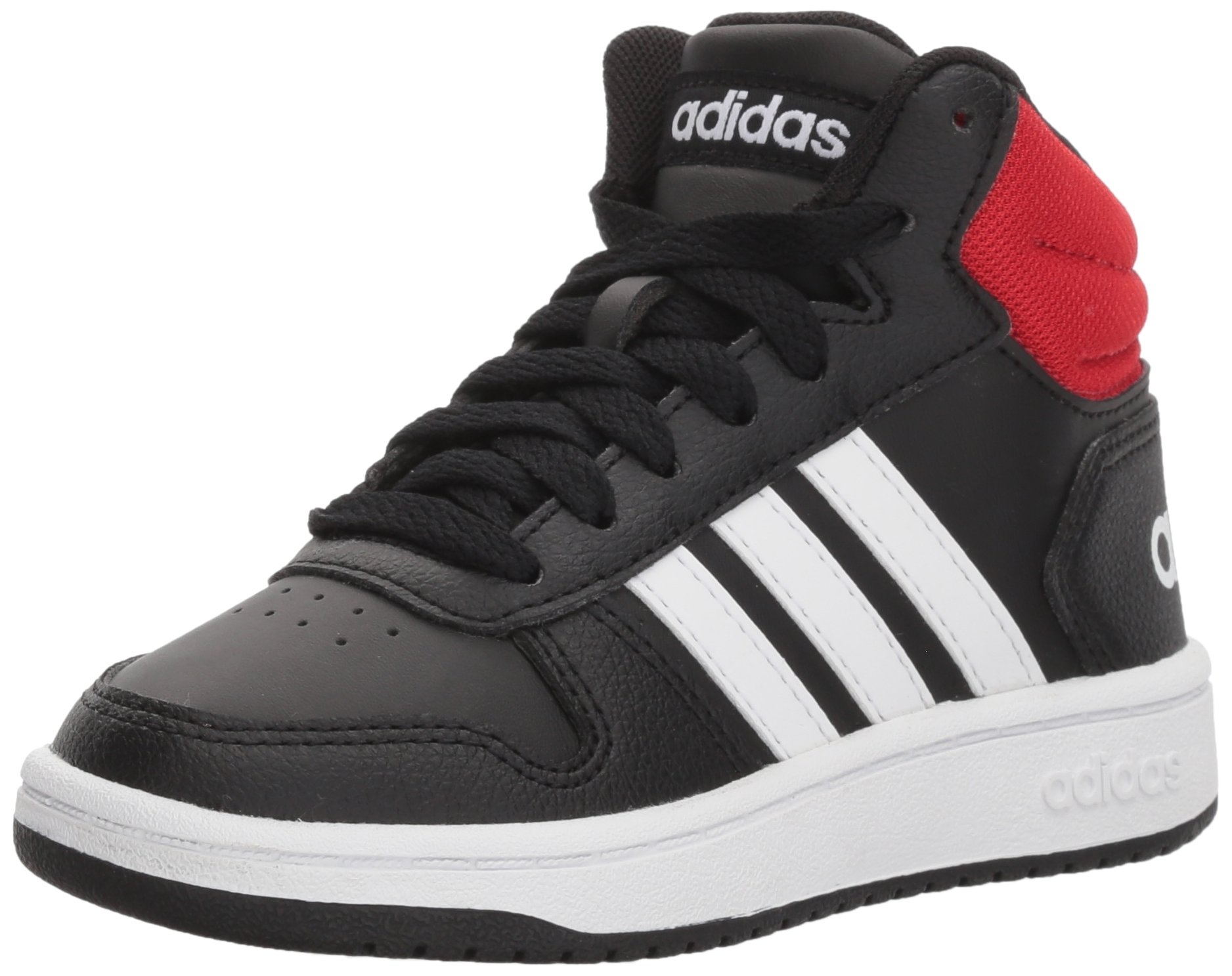adidas Unisex Hoops Mid 2.0 Basketball Shoe, Black/White/red, 3.5 Big Kid by adidas