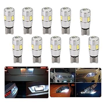 FEZZ Coche LED Bombillas T10 5630 6SMD 3W Canbus para Luces de Posición Laterales Luz de la placa del auto Blanco (Paquete de 10): Amazon.es: Coche y moto