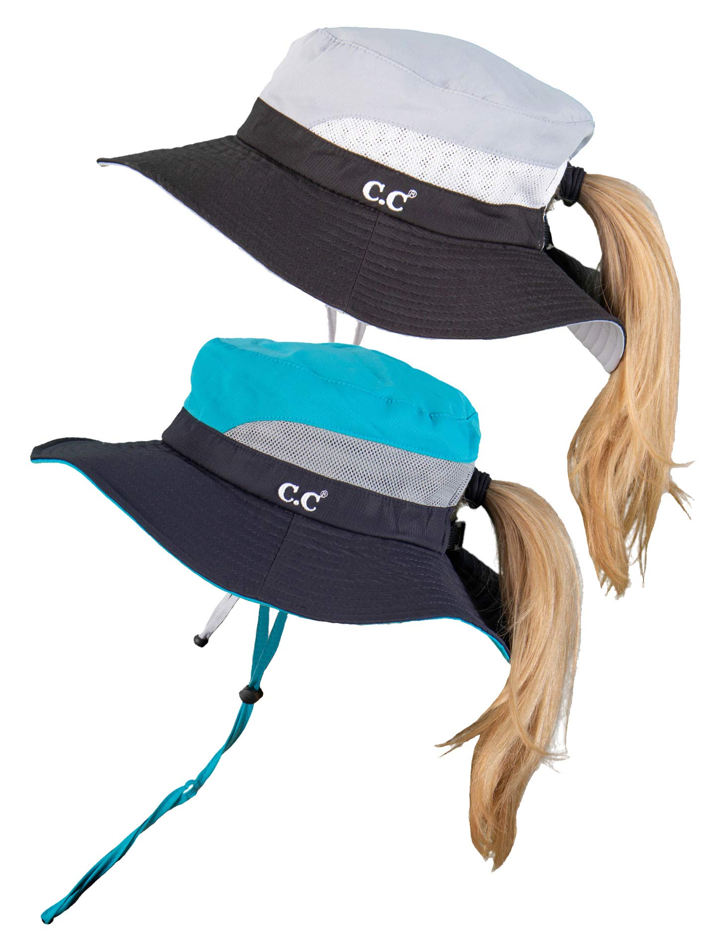 SH-2177-2-06213146 Ponytail Sun Hat w/String - 2 PK: Black/Grey & Navy/Turquoise