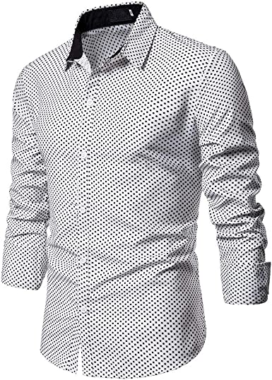 SoonerQuicker Camisas de Hombre Camisa de Lunares Blusa de Manga Larga con Cuello Redondo y Cuello Redondo de Corte Ajustado Formal Cusual para Hombre T Shirt tee: Amazon.es: Ropa y accesorios