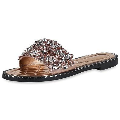 SCARPE VITA Damen Sandalen Pantoletten Nieten Sommer Schuhe Strass  Schlappen 164788 Rose Gold 36 509f5e3e5c