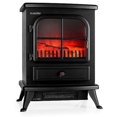 Klarstein St. Moritz • Chimenea eléctrica Virtual • Calefactor • Calefacción Independiente del Calefactor • 1850 W • termostato Ajustable • Libre de Fuego y Humo • leña Decorativa • Negro