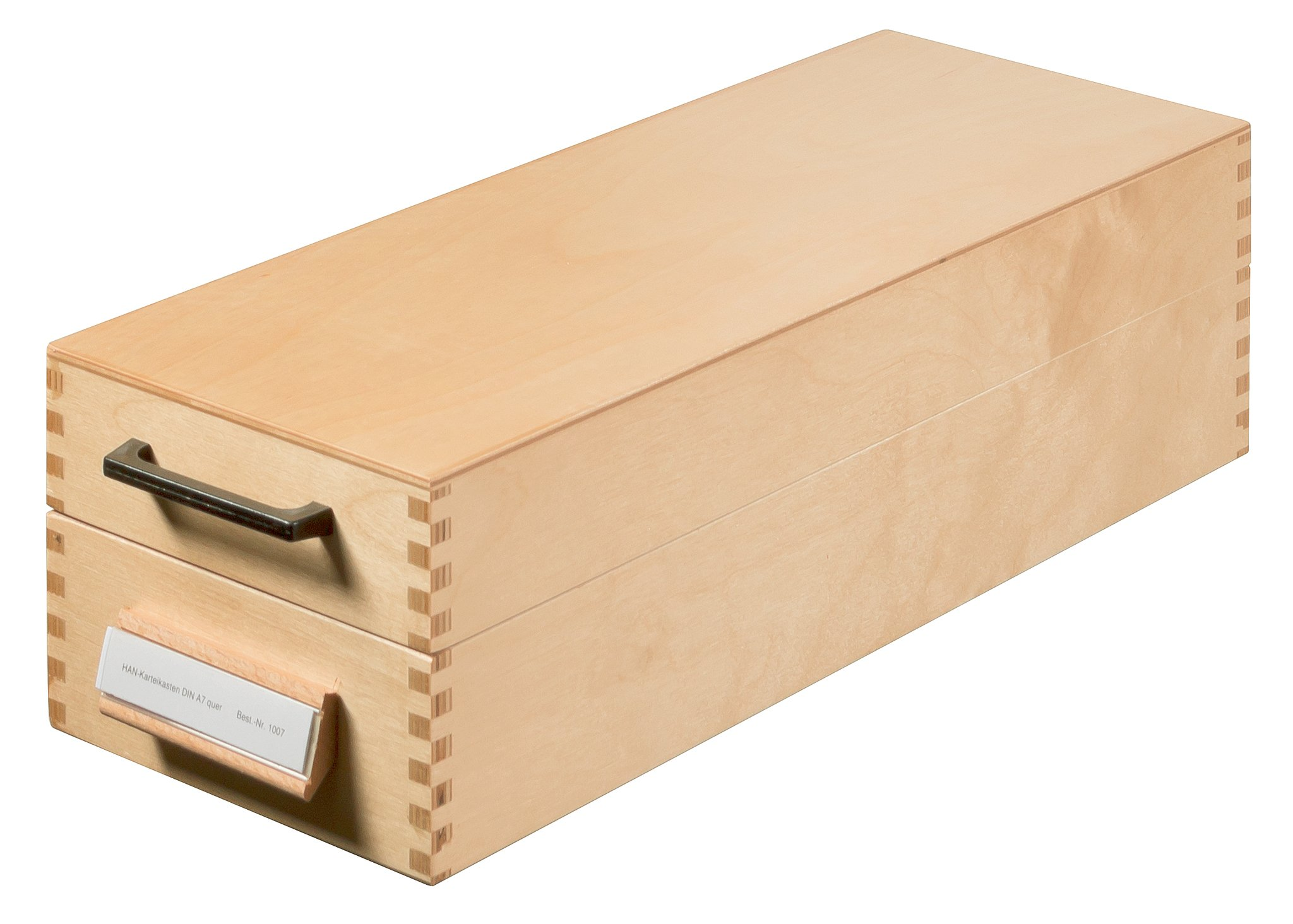 HAN 1007 Index Card Box Wood for Maximum 1500 Cards A7 Landscape 150 x 110 x 380 mm by HAN
