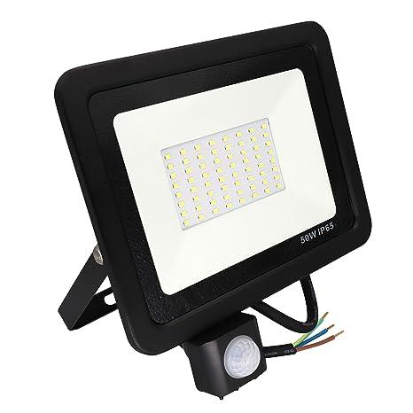 Poop Foco con Sensor Movimiento 50W Proyector LED Exterior Iluminación de Exterior Segura, Impermeable IP65