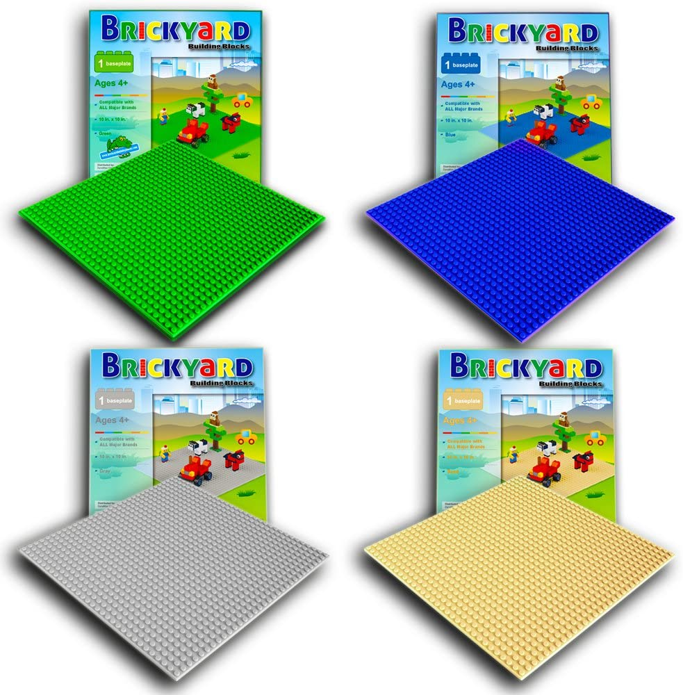 Brickyard Building Blocks 4 Baseplates, Improved Design 10 x 10 Inches Large Thick Base Plates for Building Bricks, for Activity Table or Displaying Toys (Green, Blue, Gray, Sand - 4-Pack, Assorted)