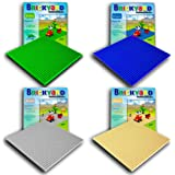 4 Baseplates, 10 x 10 Inches Large Thick Base Plates for Building Bricks by Brickyard, for Activity Table or Displaying Compatible Construction Toys (Green, Blue, Gray, Sand - 4-Pack, Assorted)