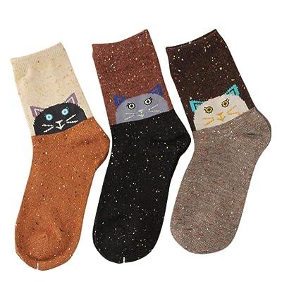 3 Pair Funny Socks,Women Teen Girls Socks Soft Wool Cartoon Socks Design Casual Cotton Crew Socks