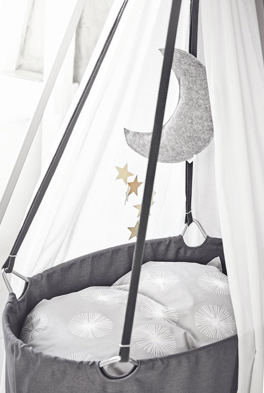 Schleier Matratze und Deckenhaken wei/ß Babywiege grau inkl mit Himmel Stativ grau Leander Wiege