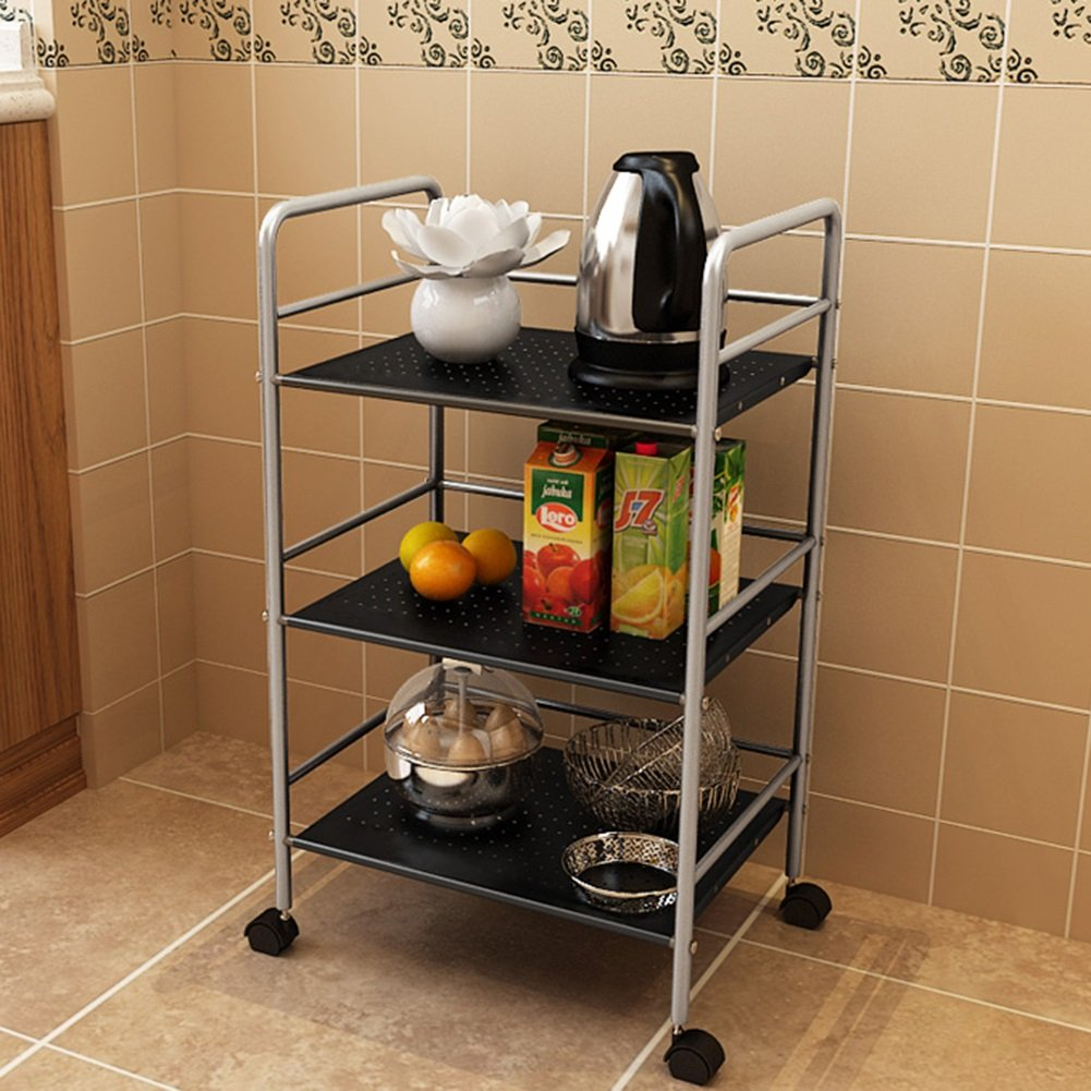 Kitchen Racks For Pots And Pans Standing Storage Stand Trolley 4 Tier Stainless Steel Gray Shelf Containers (Size : 3 tier)