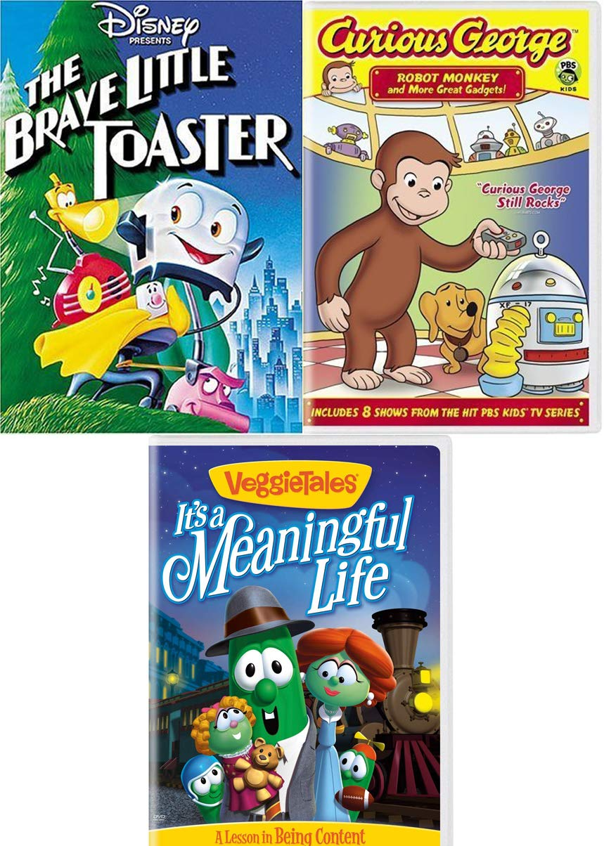 Brave Monkey & Curious Toaster & Friends Fun Cartoon Kid Pack Disney Little Toaster & VeggieTales it's a Meaningful Life + PBS Curious George Robot Monkey and Gadgets adventures Triple Cartoon