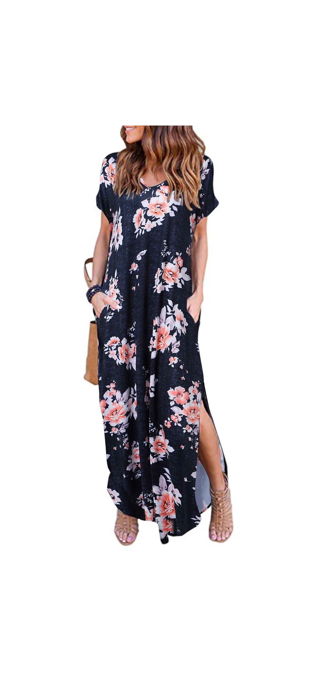 Women's Summer Maxi Dress Casual Loose Pockets Long