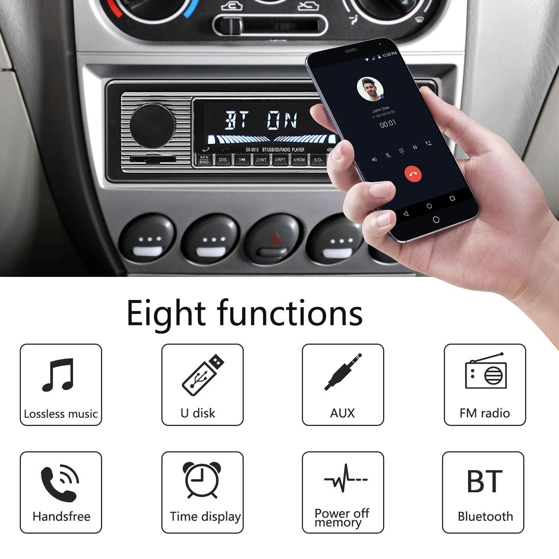 HERCHR mode r/étro Bluetooth auto voiture vintage lecteur MP3 st/ér/éo USB AUX voiture classique st/ér/éo audio