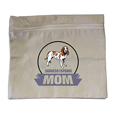 "Canvas Zipper Pouch Tote Bag 10""X12"" Mom Sabueso Espanol Dog Style In Print"