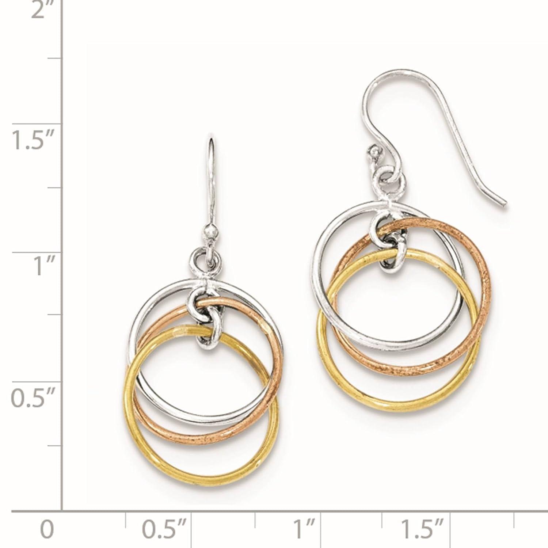 925 Sterling Silver Gold-tone /& Rose-tone Circles Dangle Earrings