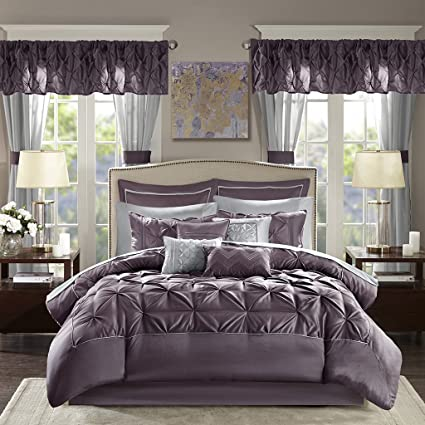Madison Park Joella 24 Piece Room in a Bag Plum Cal King
