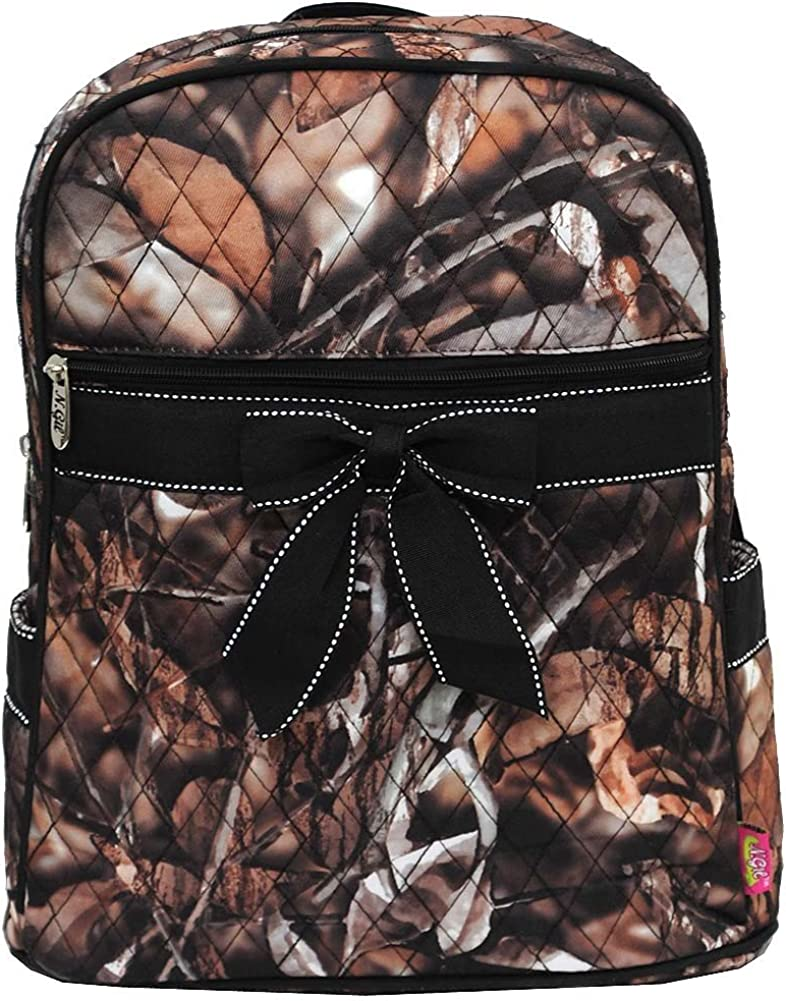 Quilted Natural Camo Backpack Black