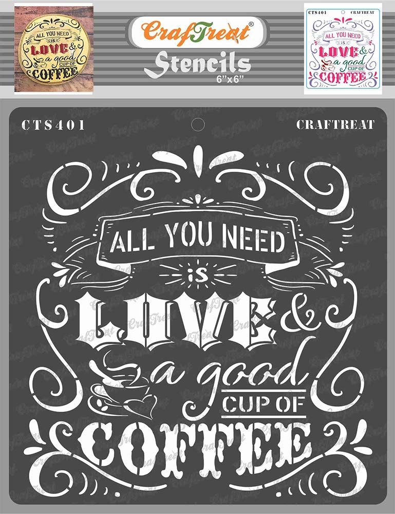 Buy Craftreat Coffee Stencils For Craft Coffee Love 6x6 Inches Reusable Diy Stencils For Coffee Kitchen Quote Stencils Coffee Quotes Stencils For Painting On Canvas Online At