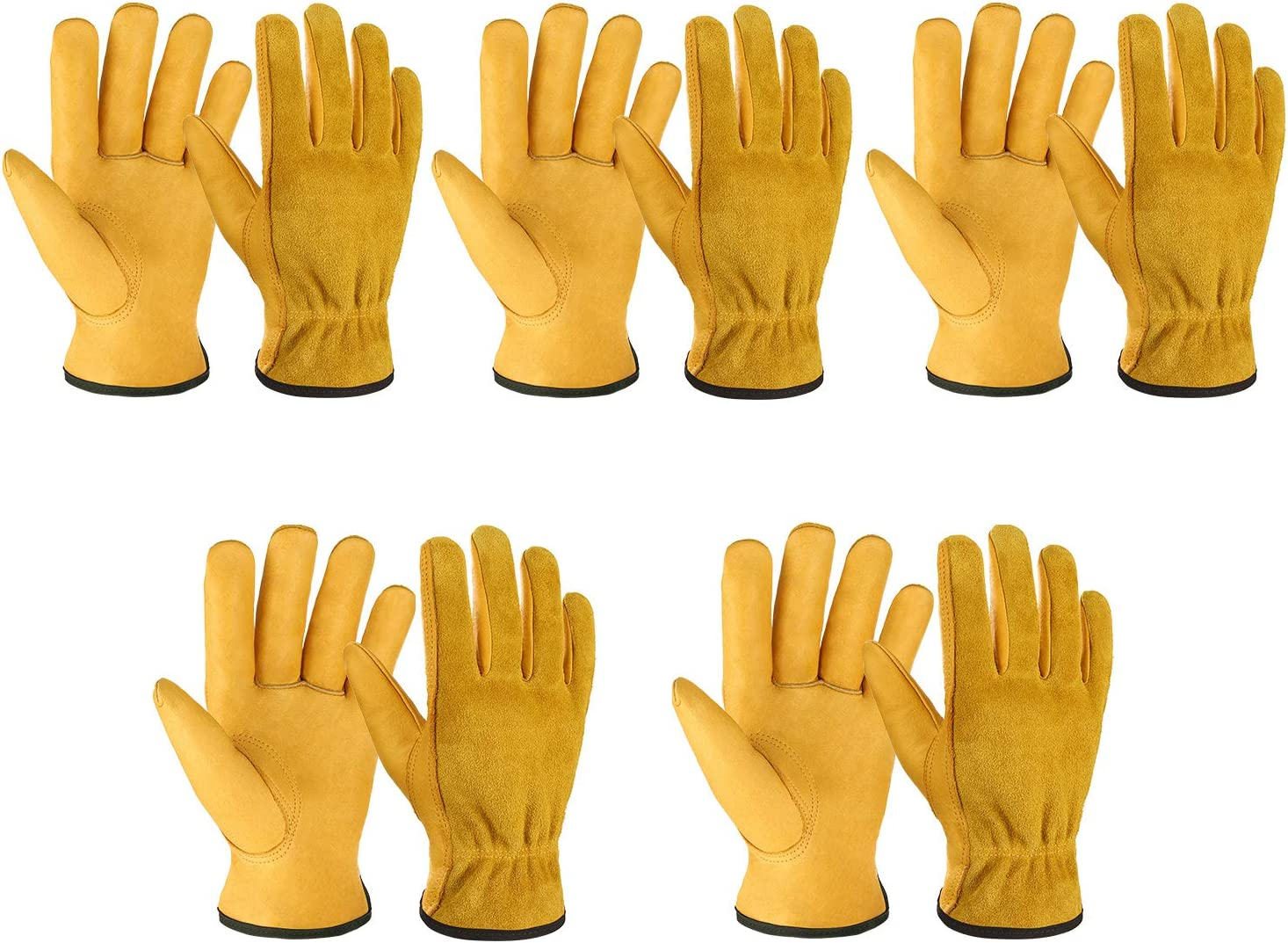 OZERO 5 Pairs Leather Work Gloves Flex Grip Tough Cowhide Gardening Glove for Wood Cutting/Construction/Truck Driving/Garden/Yard Working for Men and Women (Gold,Small)