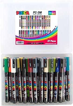 Posca PC-3M Marcador de pintura acrílica Mega Pack, juego completo de 37 colores, punta fina de 0,9 – 1,3 milímetros, fantástico juego de arte, 37 bolígrafos, exclusivo de easichalk.: Amazon.es: Hogar