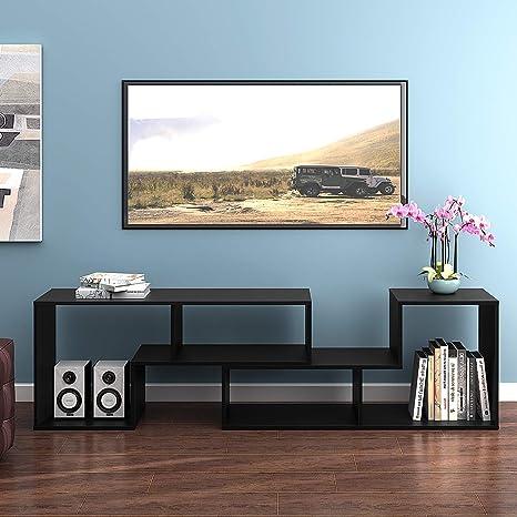 DEVAISE Versatile TV Stand, Entertainment Center Console, Bookshelf for  Living Rooms, Black