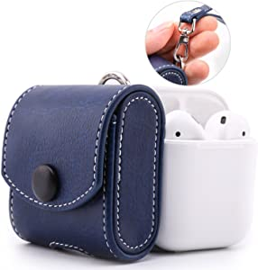 MoKo AirPods Case, Magnetic Snap Closure Protective Cover Carrying Pouch Pocket, with Holding Strap, Leather Protective Cover Shell Skin Storage for AirPods 1 Charging Case - Indigo
