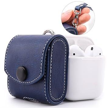 MoKo Airpods Funda para Apple, un Bolsillo de Poliuretano(PU) con Botón de Metal para Cerrar y Guardar Apple Airpods-Índigo: Amazon.es: Electrónica