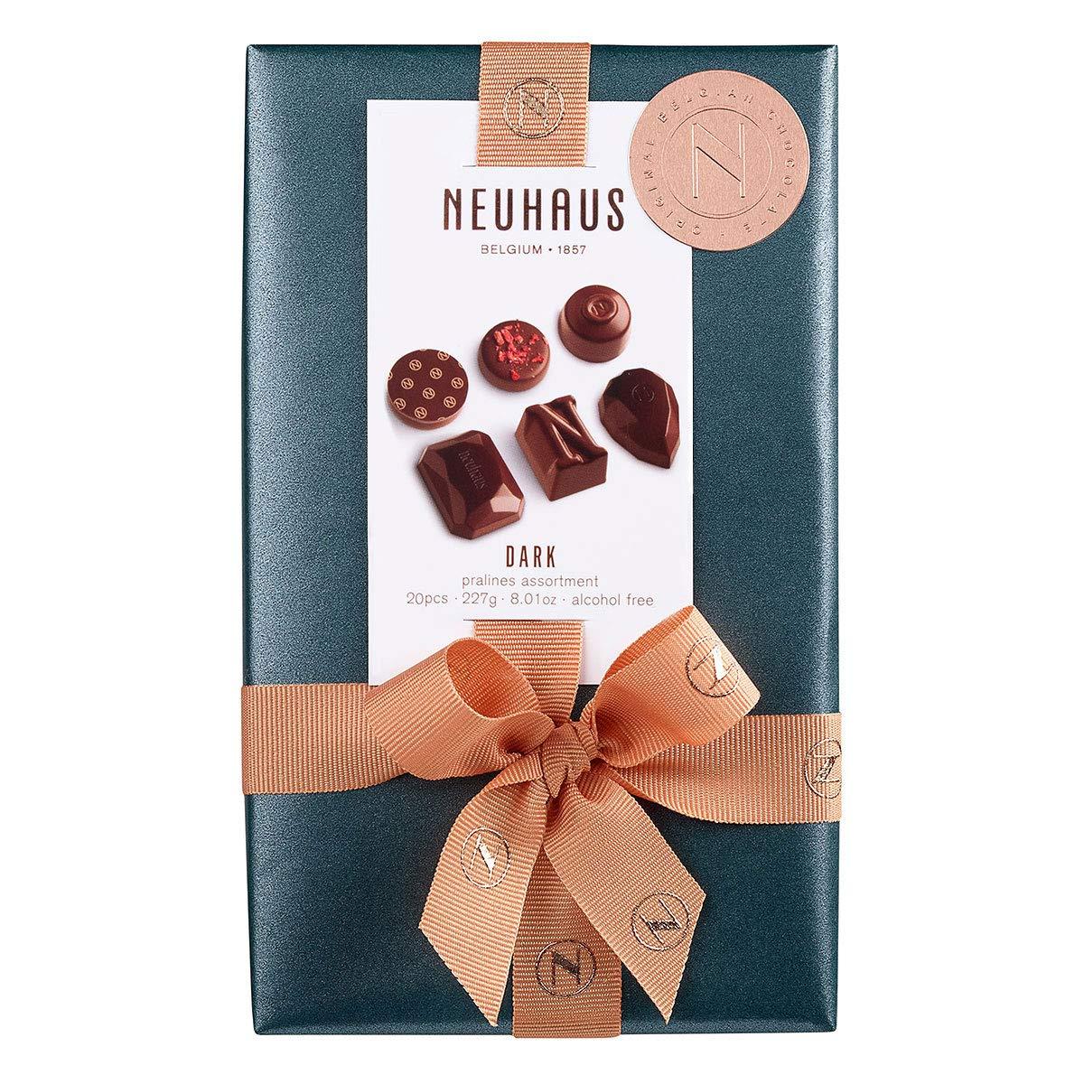 Neuhaus Belgian Dark Chocolate Pralines Assortment Ballotin 1/2 lb , Premium Chocolate Gift Ballotin Box , Gourmet Dark Chocolate Assortment, 20 count