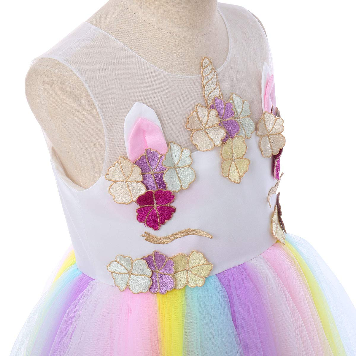 FYMNSI Kids Unicorn Dress Up Flower Girl Rainbow Tutu Tulle Skirt Sleeveless Princess Ball Gown with Horn Headband Outfit for Birthday Party Pageant Wedding Christmas Carnival Photo Shoot