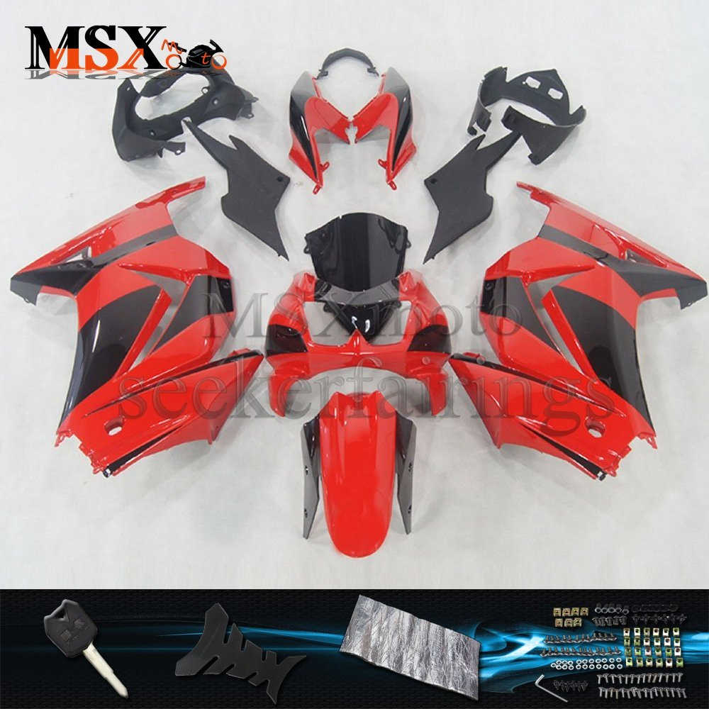 MSX-moto 適応カワサキ Kawasaki 川崎 EX250R 2008 2009 2010 2011 2012 EX250 ZX250 Ninja250 08 09 10 11 12年 外装パーツセット ABS射出成型完全なオートバイ車体 赤/レッド&黒/ブラックのボディ   B07DZL63GH