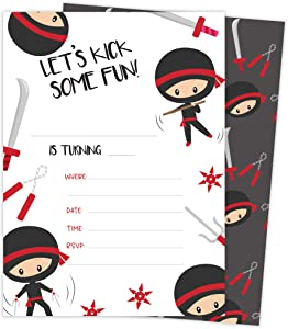 Ninja Boy 3 Happy Birthday Invitations Invite Cards (25 Count) With Envelopes and Seal Stickers Vinyl Boys Kids Party (25ct)