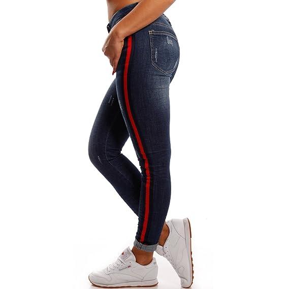 Damen Boyfriend Jeans mit Seitenstreifen Freizeithose ,  Farbe:Blau;Größe:36/S: Amazon.de: Bekleidung