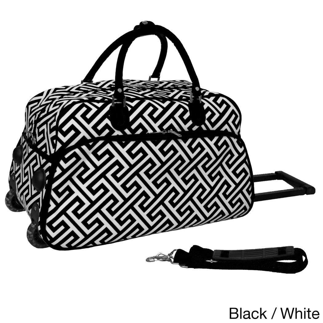 Single Pieceブラック幾何パターン軽量Rolling Duffle Bag , 21-inch Carry On Duffleバッグ、ポリエステル素材、multi-compartment、回転、折りたたみ式、Softsided、明るいホワイト   B01EYQ8D22