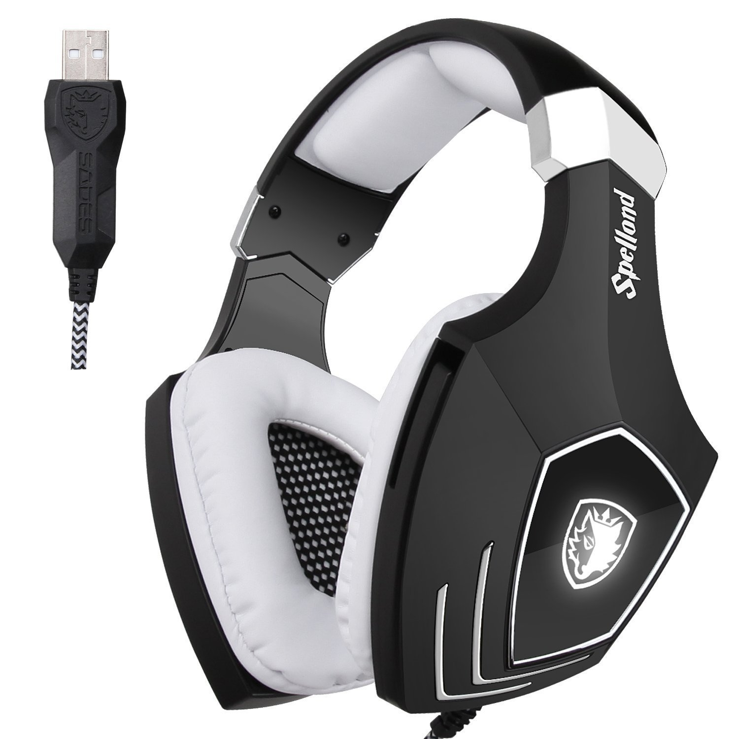 73058cc3997 Amazon.com: SADES A60S/OMG PC Wired USB Stereo Gaming Headset Headband Over  Ear Headphones with Microphone Noise Isolating Volume Control LED Light ...