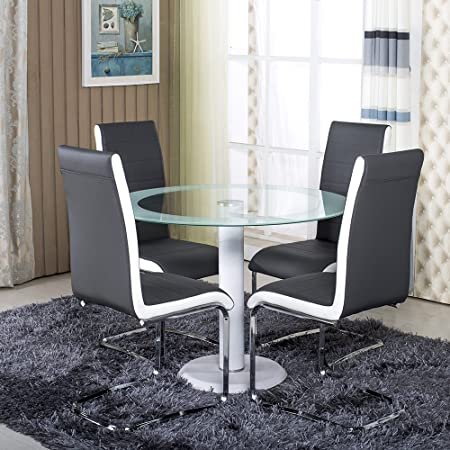 Round Clear White Side Glass Dining Table And With 4 Grey Faux Leather  Chairs Dining Table