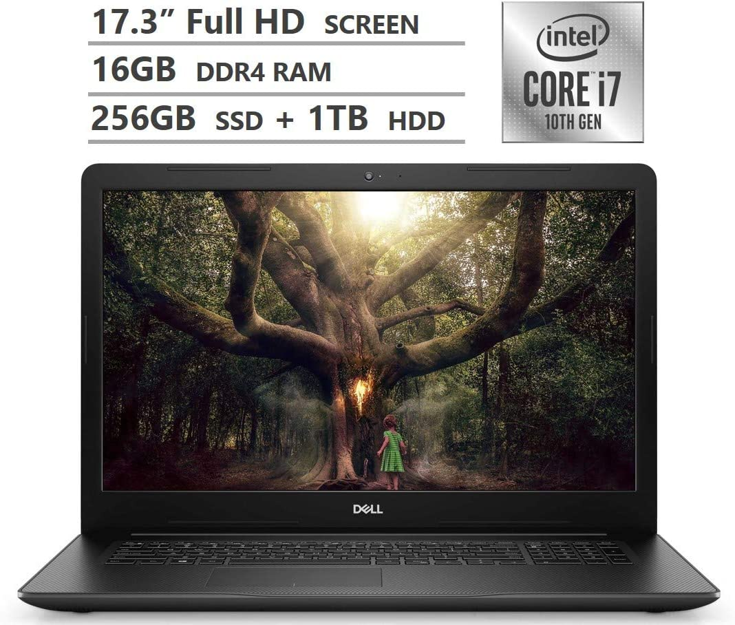 "Dell Inspiron 17 Laptop, 17.3"" Full HD Screen, 10th Gen Intel Core i7-1065G7 Quad-Core Processor up to 3.90GHz, MX230 Graphics, 16GB RAM, 256GB SSD + 1TB HDD, DVD, Wireless-AC, Windows 10 Home, Black"